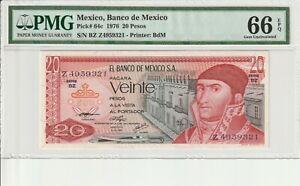 PMG-Certified-Mexico-1976-20-Pesos-Banknote-UNC-66-EPQ-Gem-Pick-64c-US-Seller