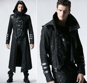 Details zu Umwandelbar Gothic Punk Mantel Jacke Steampunk Militär Kapuze PunkRave Herren