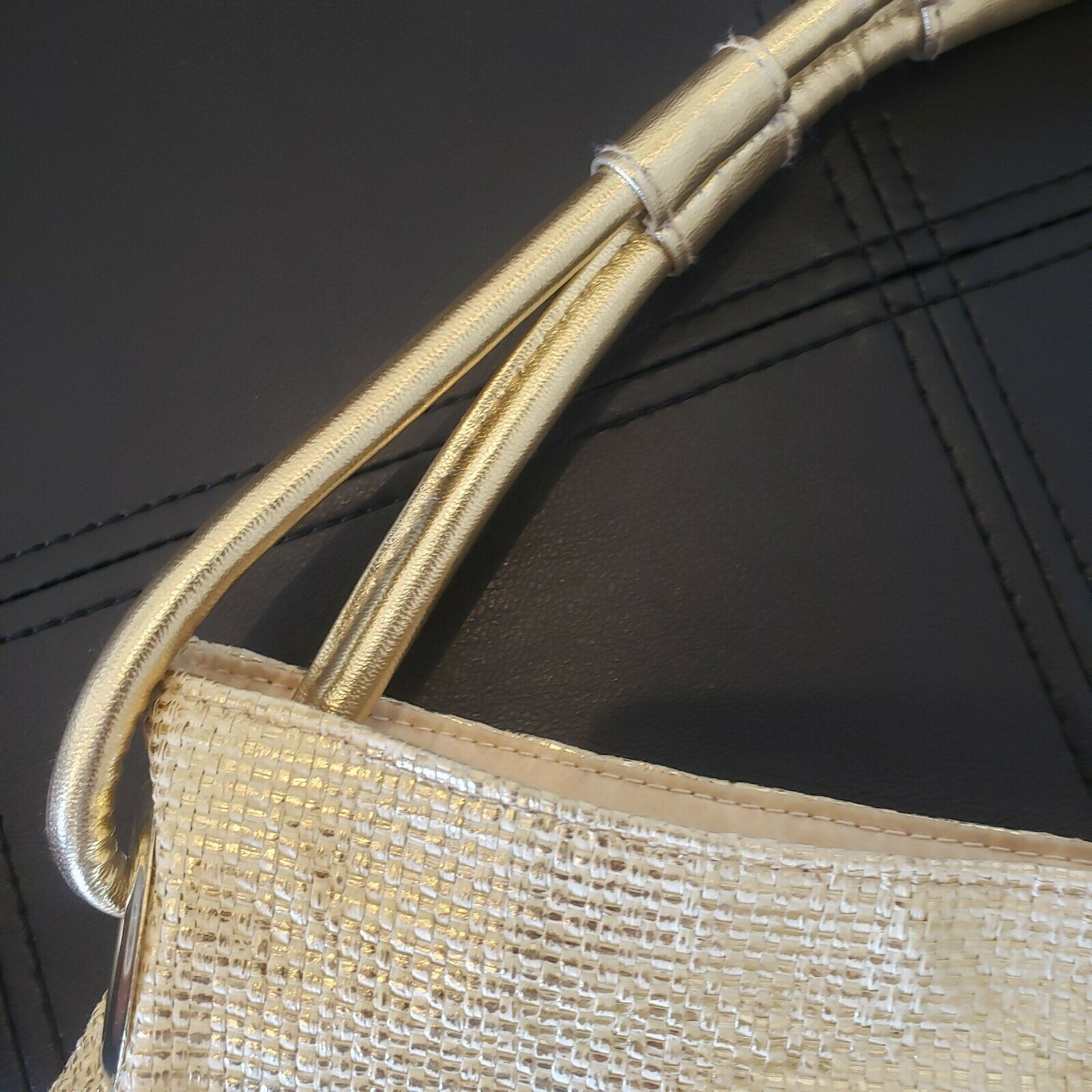 """""""QUEEN"""" Gold woven Lined Large Handbag by """"QUEE… - image 5"""