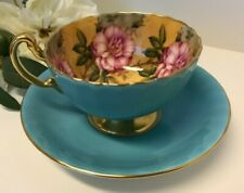Aynsley Blue Turquoise Cup & Saucer Cabbage Roses Floral Ribbed Teacup