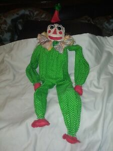 Vintage-24in-Clown-Doll-Handmade-1970s-Toy-home-decoration