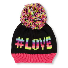 Girls '# Love' and a heart image on the back  Beanie  Pom Pom HAT size (8+YR)