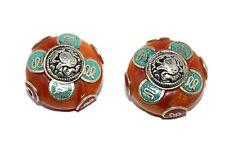 Nepalese beads amber turquoise 2 Tibet Beads Tibetan Beads boho beads BDS260