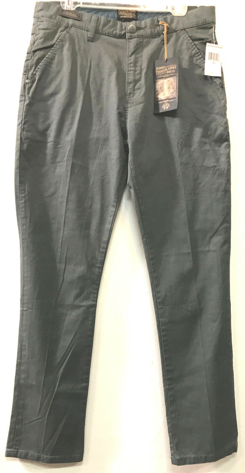 Nwt THIRD & ARMY dark slate handfinished cotton PANTS 33 X 32 Free shipping