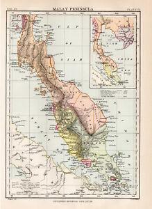 Antique-Map-Of-Malay-Peninsula-Asia-1880