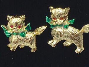 Pair-of-Vintage-Gold-Tone-Red-Rhinestone-Eyes-Kitten-Scatter-Pins