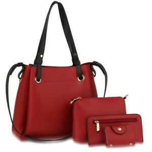 19fe54ff981 LeahWard Women's 4 in 1 Handbag Set Purse Clutch Tote Make Up Pouch ...