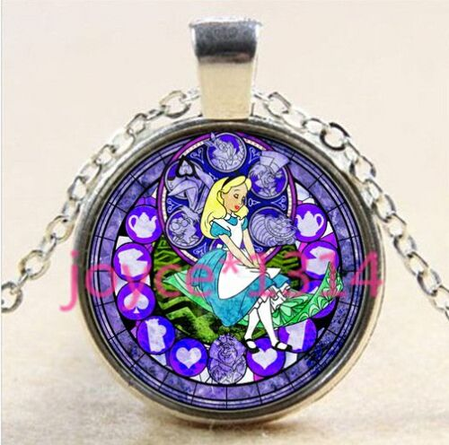 Alice in Wonderland Stained Cabochon silver Glass Chain Pendant Necklace #2662