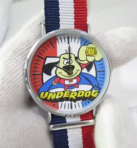 UNDERDOG-034-Flying-Ring-034-Red-White-amp-Blue-Band-MEN-039-S-CHARACTER-WATCH-M-81