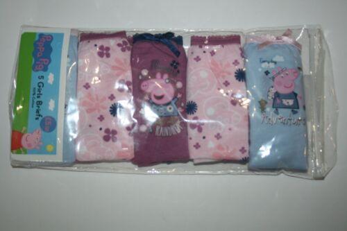 New UK Peppa Pig Underwear 5 Pairs Pink Purple Light Blue size 4 5 Year 110 cm