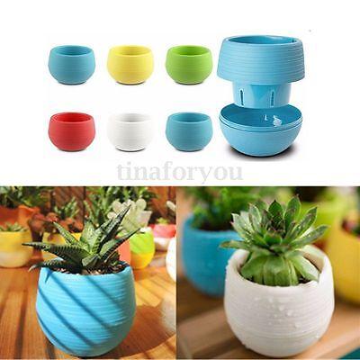 7x6.5cm Cute Round Home Garden Office Decor Planter Plastic Plant Flower Pots