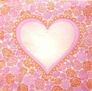 4 Lunch Paper Napkins for Decoupage Party Table Craft Vintage Heart Shaped