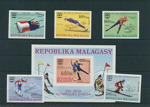 Madagascar-Olympique-Olympia-1976-Innsbruck-mi-767-771-Bl-9-B-Neuf-MNH
