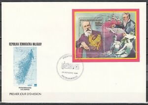 Malagasy Rep., Scott cat. 875. Classical Composer s/sheet on a First day cover.