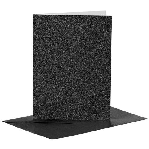 Black Glitter Blank Cards Envelopes Luxury Fancy Card Making Art Crafts Set 4-20
