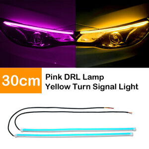 2X-30cm-Flexible-Car-Switchback-Headlight-Tube-LED-Strip-DRL-Light-Pink-amp-Amber