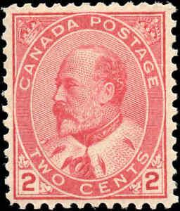 1903-Mint-H-Canada-F-VF-Scott-90-2c-King-Edward-VII-Issue-Stamp