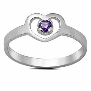 .925 Sterling Silver Ring Size 4 Kids Heart Baby Midi Amethyst New x42