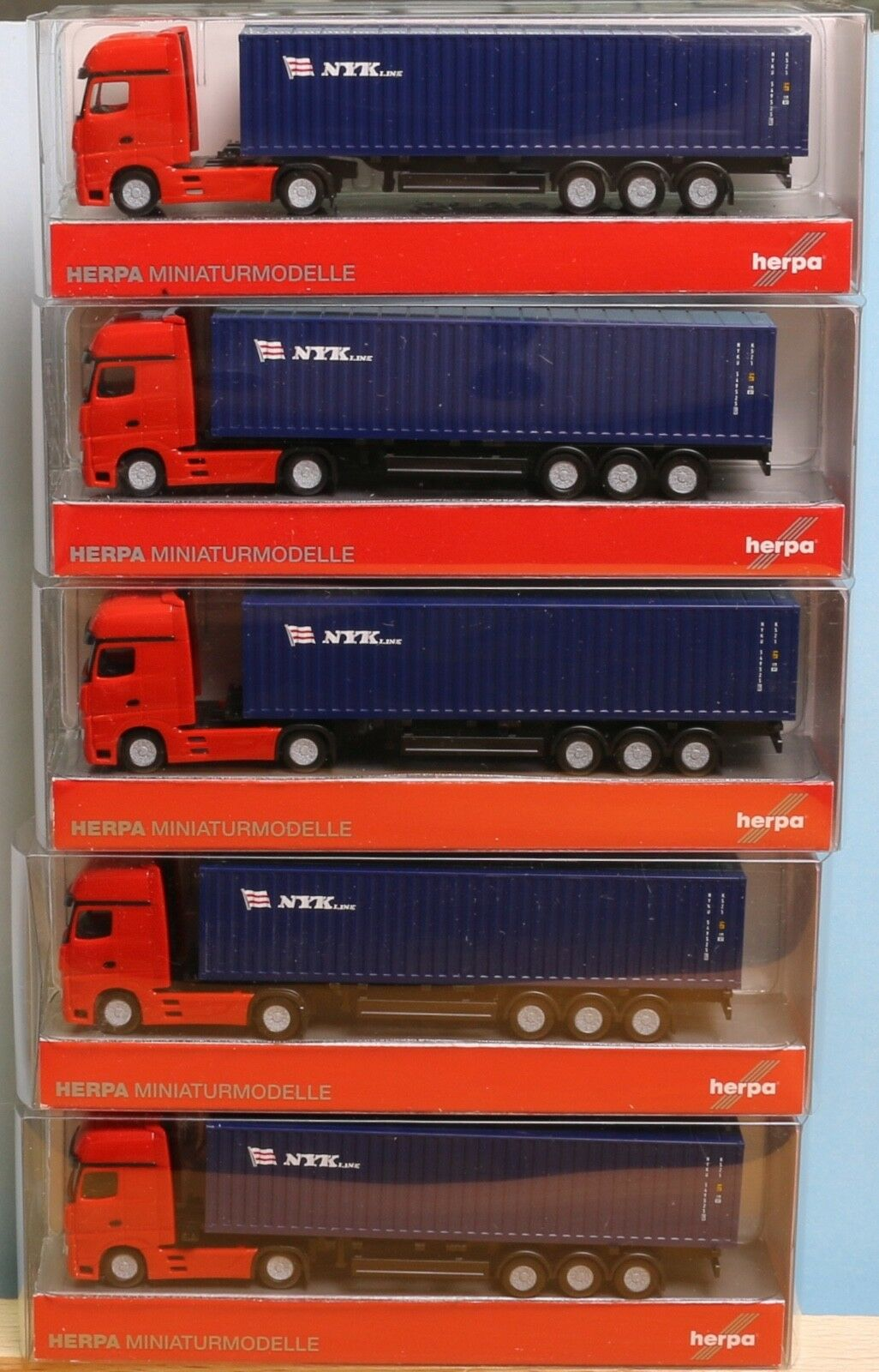 Herpa 066471 x 5, spur n, 5 x mb actros container sattelzug nyk im set