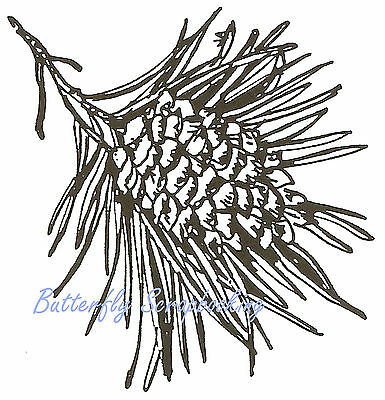 PINECONES PINE BRANCH Wood Mounted Rubber Stamp IMPRESSION OBSESSION F7836 NEW