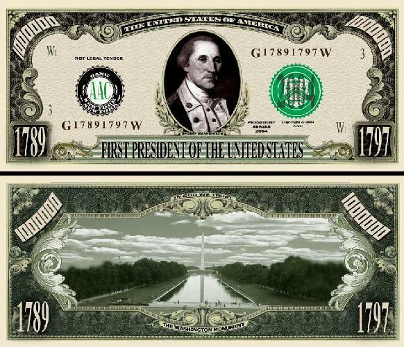 George Washington Million Dollar Bill Play Funny Money Gospel Tract FREE SLEEVE