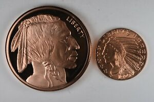 Buffalo 5 Oz And 1 Oz Avdp Ounce 999 Fine Copper Round Ebay