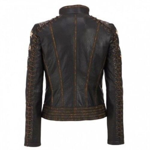 Women/'s Distressed Stylish Brown Cafe Racer Vintage Biker Real Leather Jacket