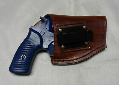 Ruger LCR .38 caliber IWB Dual Spring Clip Leather Holster Right Hand Black