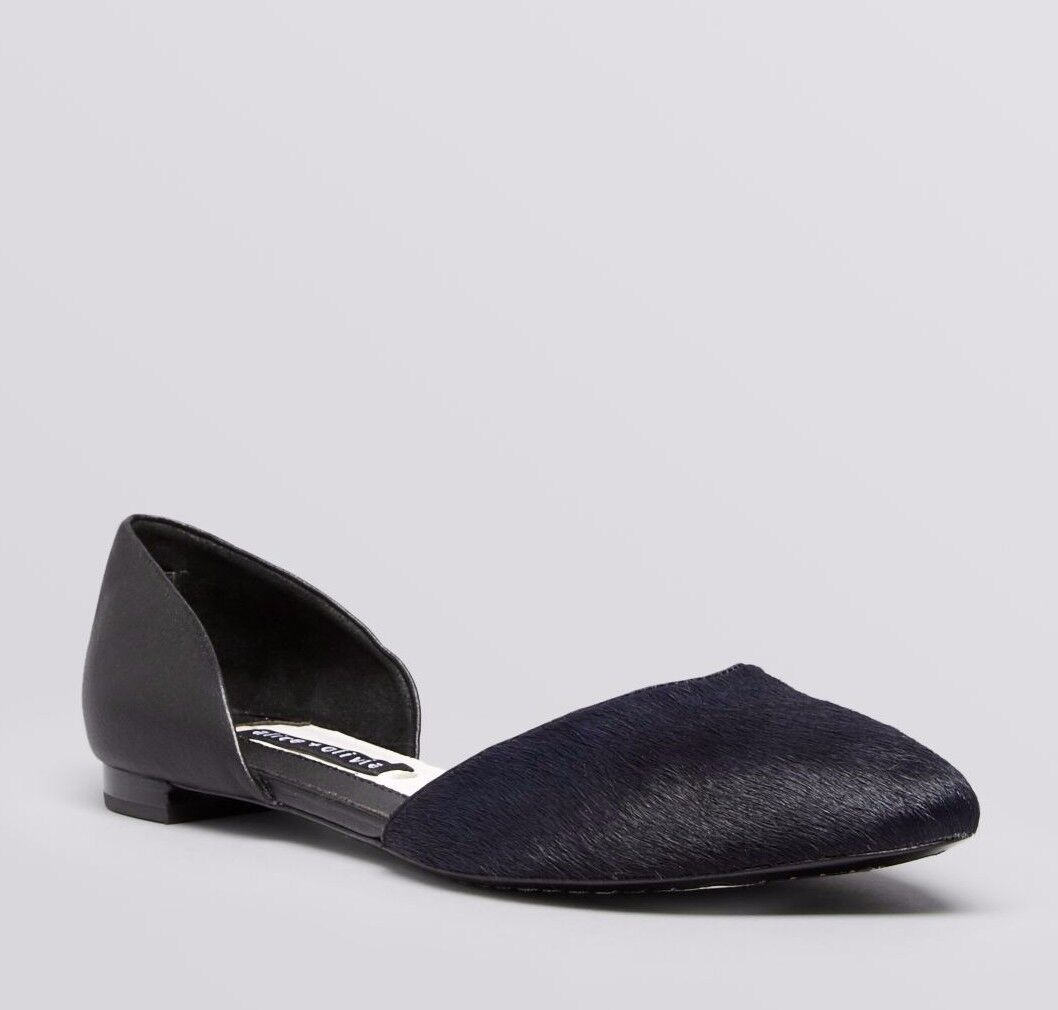 nuovo ALICE+OLIVIA Sz37.5 HILARY D'ORSAY CALF HAIR LEATHER POINTED TOE blu nero.
