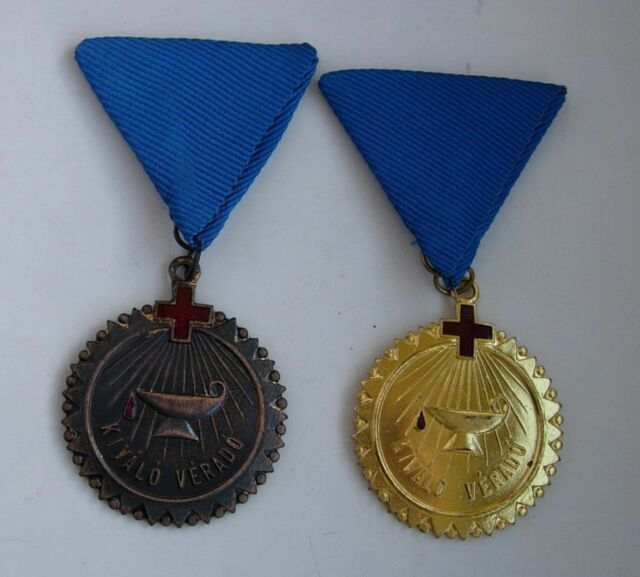 2 HUNGARIAN RED CROSS MEDAL communist era type BRONZE GOLD