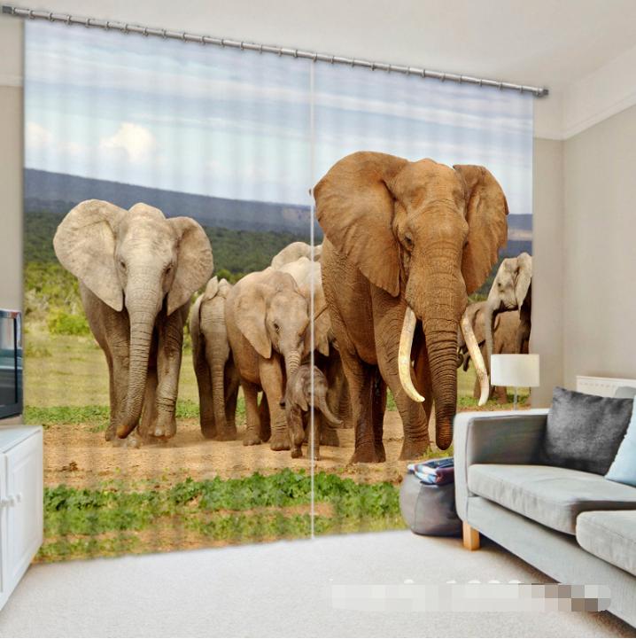 3d 636 elefanti blocco foto sipario pressione sipario tende tessuto finestra de