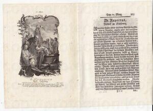 Kupferstich I.W. Baumgartner um 1750 Heiliger Rupert Bischof von Salzburg