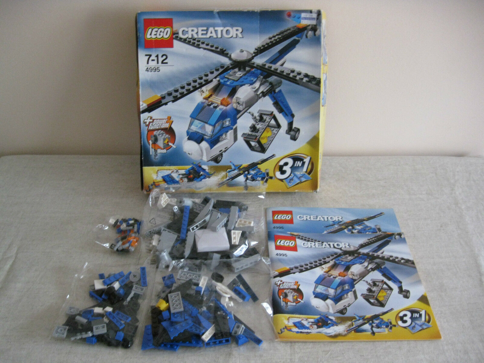 Lego 4995 3 in 1 Cargo Copter With Power Functions. Box Opened Bags Still Sealed