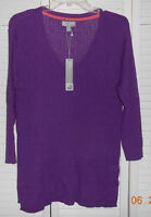 Jcpenny Pure Purple V Neck Linen Blend 3/4 Sleeve Sweater Size Large