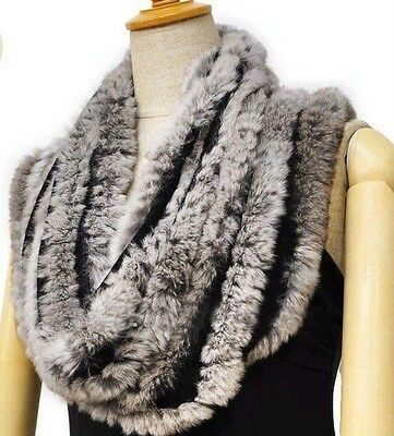Genuine Real Farm rex rabbit fur hand knitted circle scarf scarves wrap Black