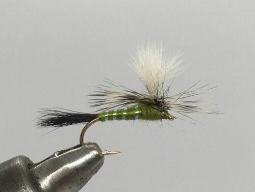 3 Goldhead White /& Yellow Dancer blue flash size 18 Salmoflies Fishing Flies