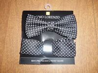 Umo Lorenzo Pre Tied Black Bowtie & Pocket Square