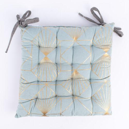 Stuhlkissen geometrisches Muster mit Bindebändern mint goldfarbig grau 40x40cm