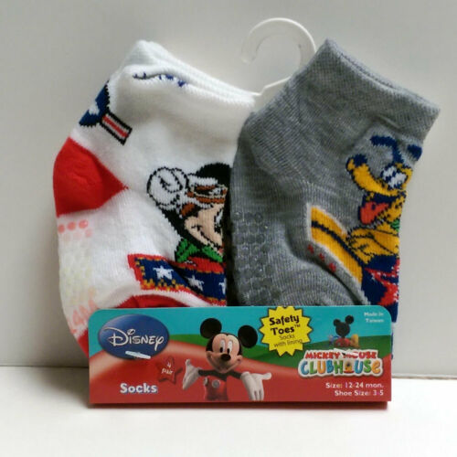4 PAIR Disney Mickey Mouse Baby Infant Toddler Safety Toes Socks 12-24 Months