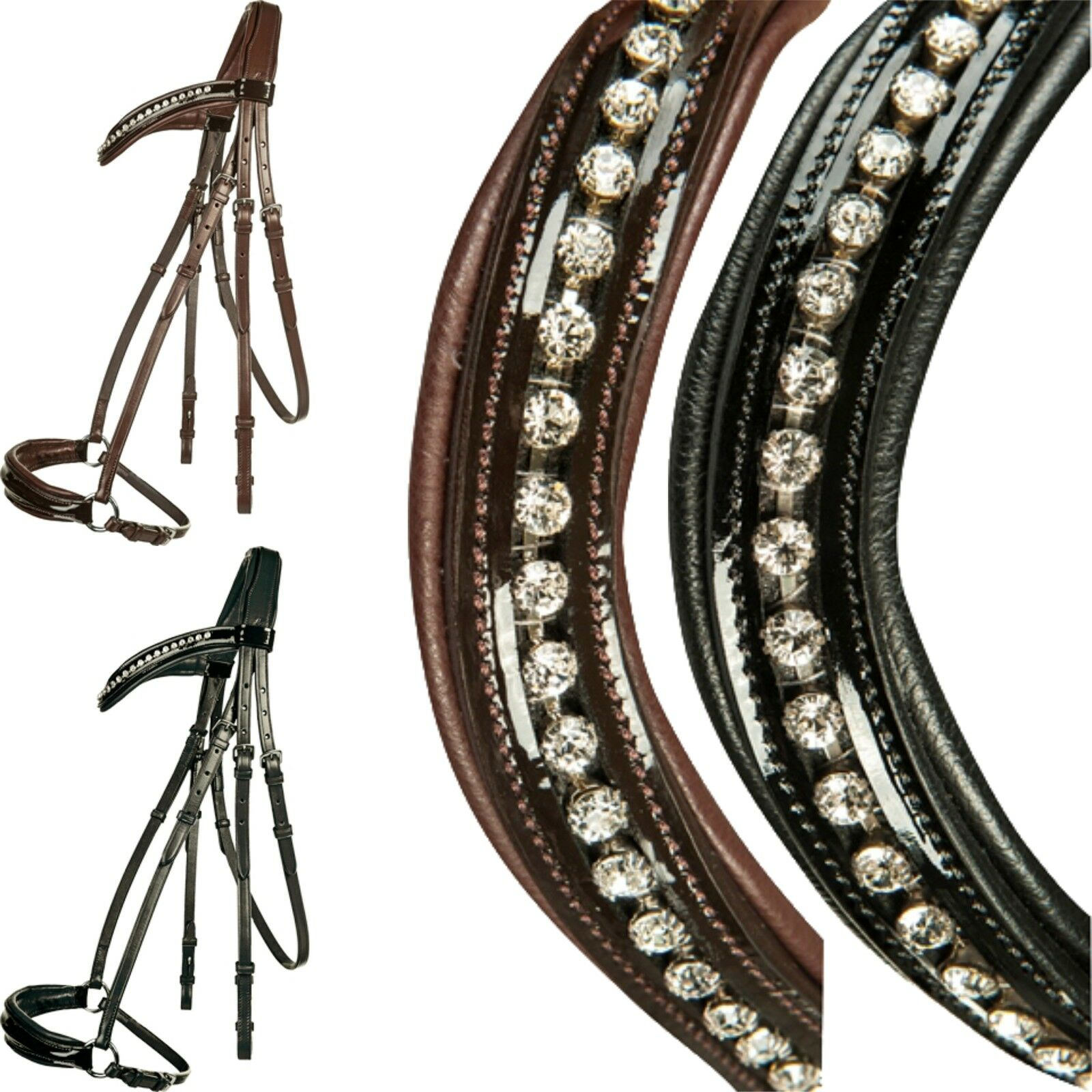HKM Snaffle Carolin with Rhinestone and Lacquer Hanovarian Riding Halter (4682)