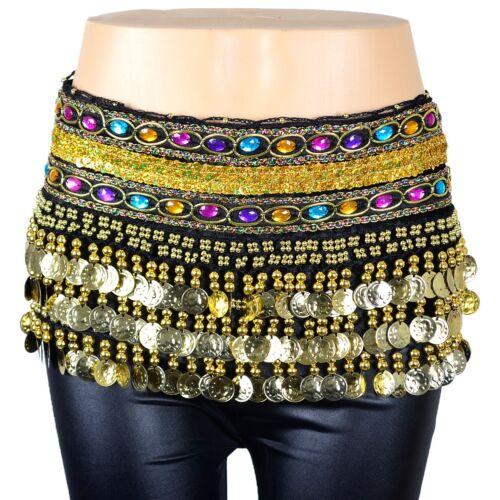 6 PCs Gold Coins Belly Dance Scarf Belt Hip Skirt Velvet Gemstone Sequin Band