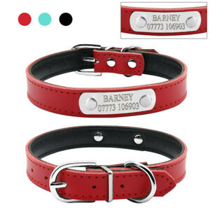Personalised-Leather-Dog-Collars-Custom-Pet-Cat-Puppy-ID-Name-Soft-Padded-XS-S-M