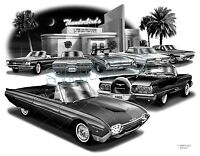 Thunderbird 60,62,63,64,65 Muscle Car Auto Art Print 2203 free Usa Shipping
