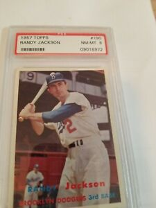 1957 TOPPS RANDY JACKSON #190 PSA 8  TOUGH AND LASER-SHARP!  DEAD CENTERED!