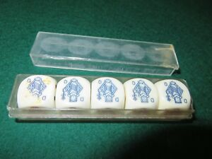 Vintage-Continental-Poker-Dice-Set-in-box-EX-COND-signs-of-wear-use
