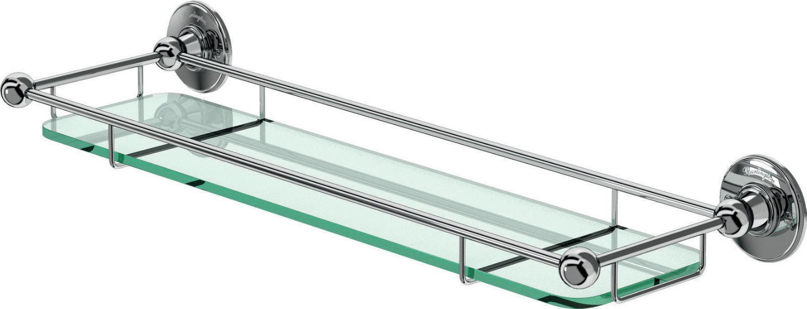 Burlington chrome traditionnelle étagère en verre avec rampes A18CHR