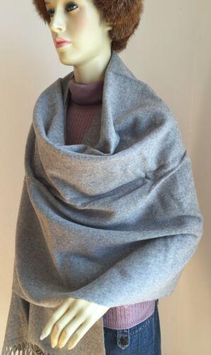 Wollschal XXL 78x220 cm grau meliert 100/% Merinowolle Umhang Cape