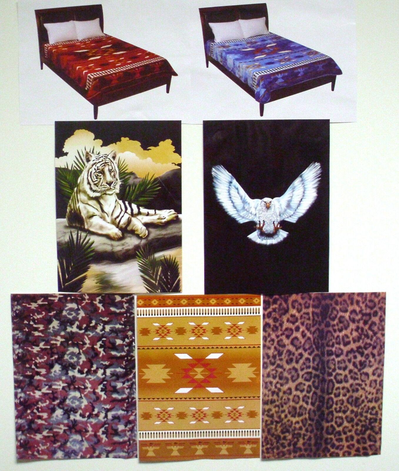 Fleece Blanket Eagle, Brown bluee Burgundy Native American, Camo, Tiger, Leopard