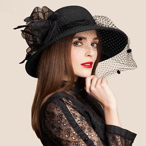 Womens Trendy Wool Felt Floppy Wide Brim Dress Wedding Church Veil ... 3774a7e35b5