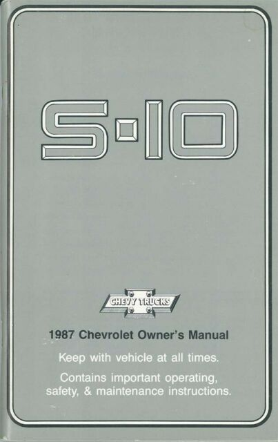 1987 Chevrolet S10 S-10 Blazer Truck Owners Manual User Guide Reference Book OEM
